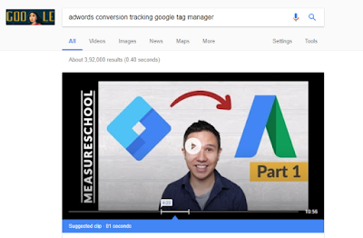 YouTube featured snippet example