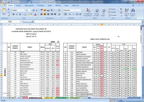 Aplikasi Pengolahan Nilai dan Koreksi UAS Format Microsoft Excel