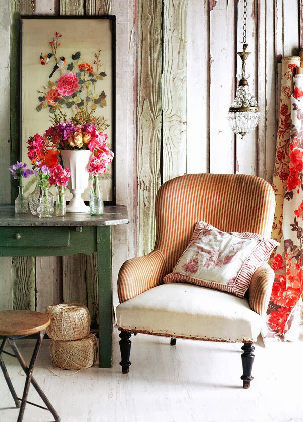 Flower arranging and styling in vintage style room