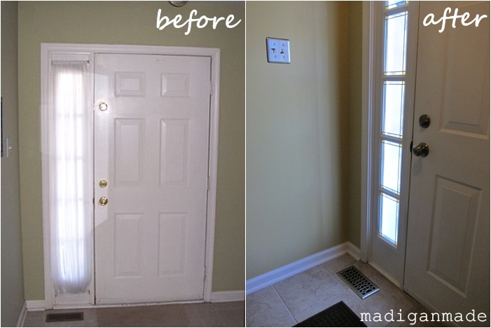 Remodelaholic Adding Privacy To Sidelights Faux Stained
