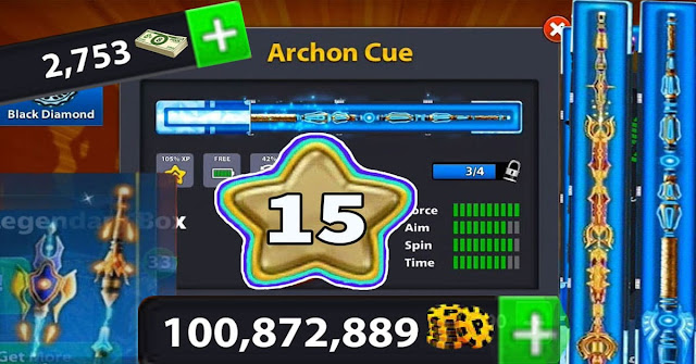 coins 8 ball pool 100 Million level 15 Legendary cue 20 of 20