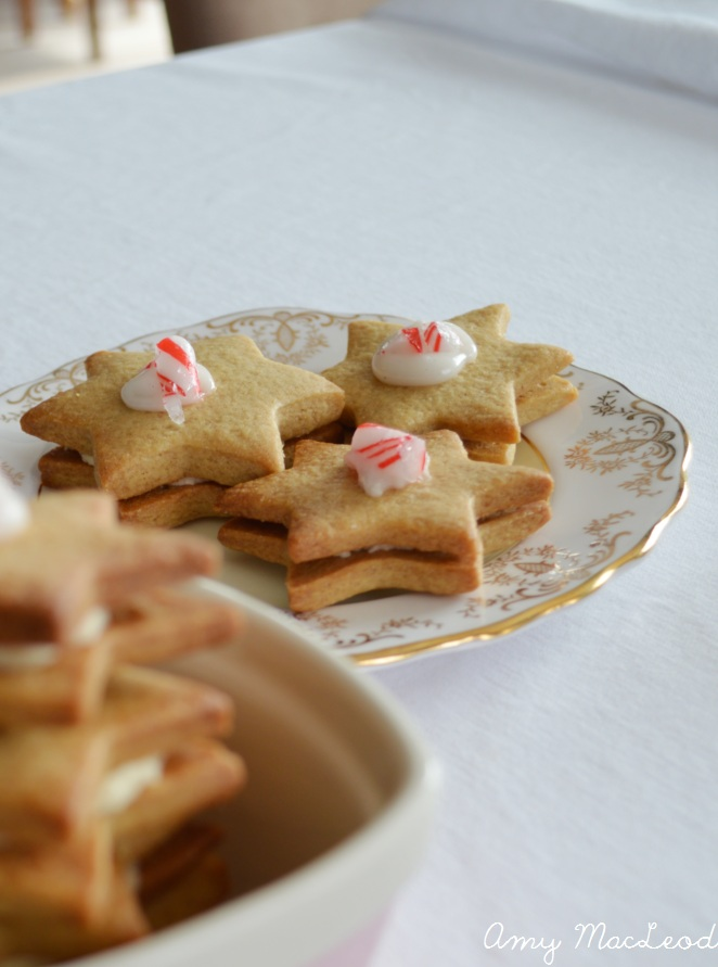 Pepparkakor Christmas cookies with vanilla and cinnamon buttercream, and candycane topping