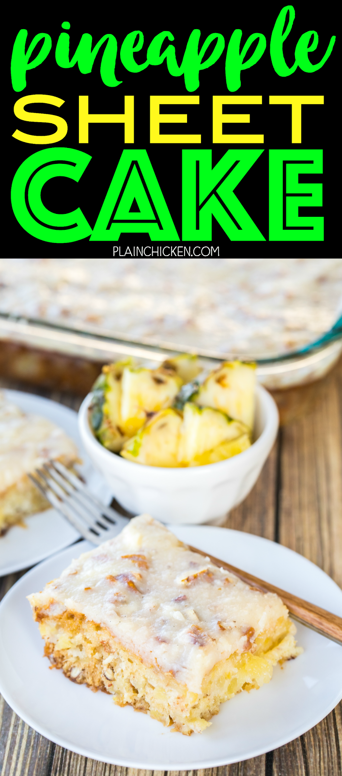Pineapple Sheet Cake - seriously delicious! Easy pineapple cake with a delicious cream cheese frosting! Sugar, flour, baking soda, vanilla, crushed pineapple, pecans, butter, cream cheese. Great for cookouts and potlucks. Can make ahead of time and refrigerate until ready to serve.