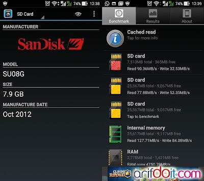 Test dengan app SD Insight dan Benchmark dengan app A1 SD Bench