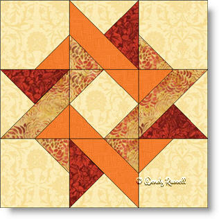 Entwined Star quilt block image © Wendy Russell