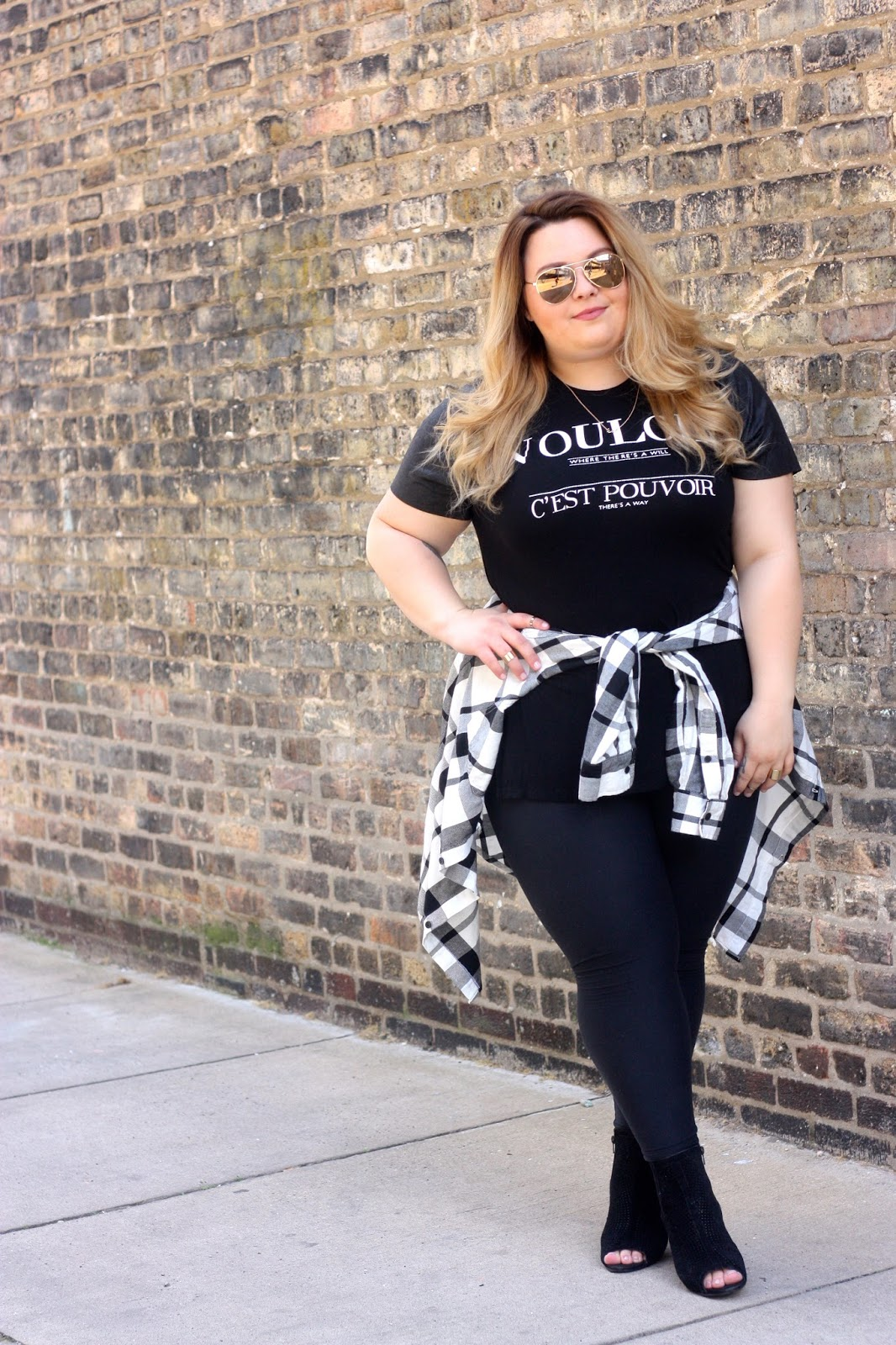 natalie craig, natalie in the city, chicago, fashion blogger, plus size fashion blogger, chicago blogger, tie waist, my boyfriends flannel, lularoe leggings, forever21 plus, black perforated ankle booties, gold nuckle rings, torrid bae necklace, boyfriend style