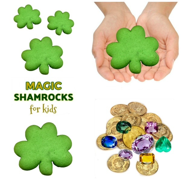 FUN KID PROJECT:  Make magic shamrocks with treasures hidden inside.  Getting the treasure out is all the fun!  #magicshamrocks #stpatricksdaycrafts #kidscrafts #playrecipes