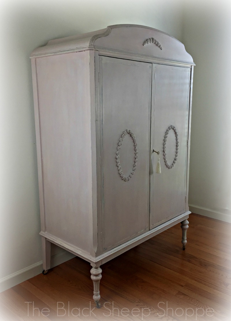 Vintage armoire hand painted and designed by Patricia at The Black Sheep Shoppe