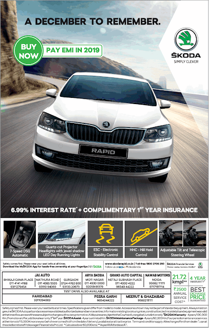 Skoda rapid buy now and pay in 2019 | December to remember offers 2017