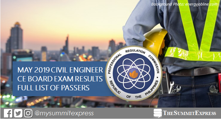 FULL RESULTS: May 2019 Civil Engineer CE board exam list of passers, top 10