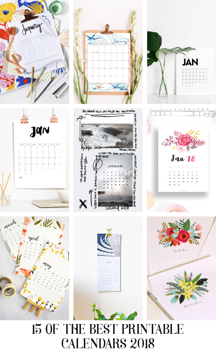 15 OF THE BEST PRINTABLE CALENDARS 2018.
