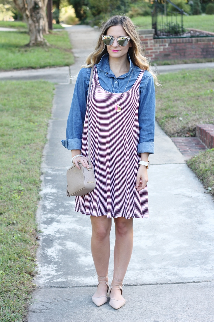 Maroon and White Stripe Dress with Denim Shirt