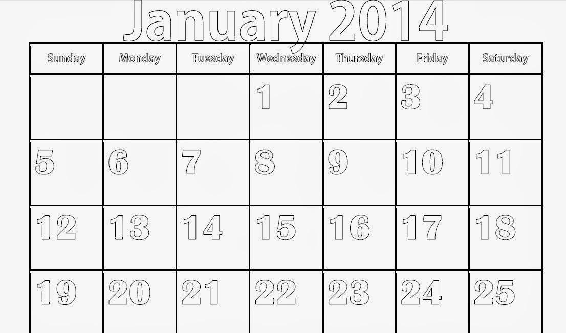 Blank January 2014 Calendar to Print , Printable Calendar 2014 - january calendar page