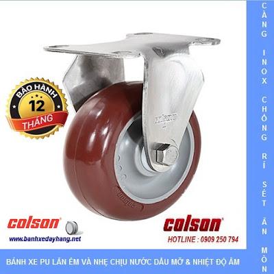 Bánh xe PU càng inox Colson Mỹ cho xe đẩy thủy sản tại Đồng Tháp www.banhxeday.xyz