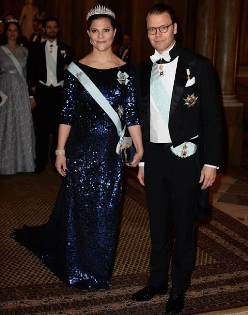 Crown Princess Victoria and Prince Daniel, Prince Carl Philip and Princess Sofia, Princess Madeleine and Christopher O'Neill attend the Royal dinner held in honor of the 2015 Nobel prize winners