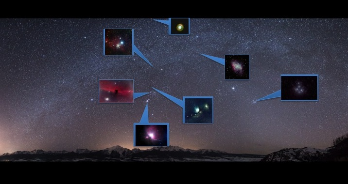 Image of Winter Deep-Sky objects that are visible from the Northern Hemisphere.