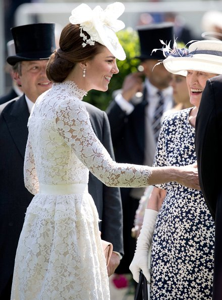 Queen Elizabeth, Duchess Camilla, Duchess Catherine, Countess Sophie of Wessex, Princess Beatrice, Princess Eugenie, Zara Phillips, Kate Middleton wore ALEXANDER MCQUEEN Lace Dress
