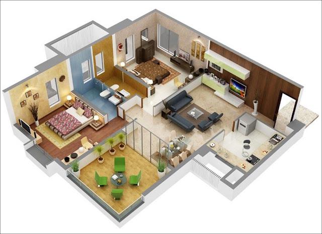 Planta de casa com banheiro no quarto e área aberta