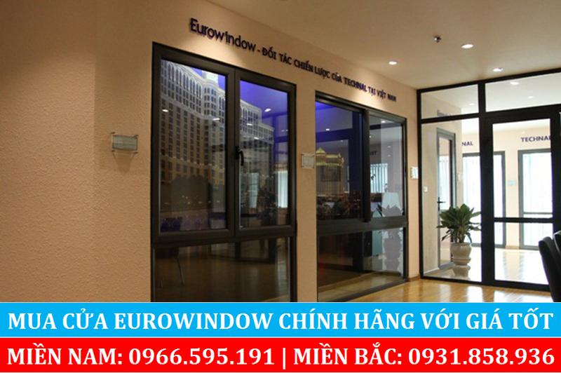 Mẫu cửa sổ nhôm kính Eurowindow mở ra vào 2 cánh