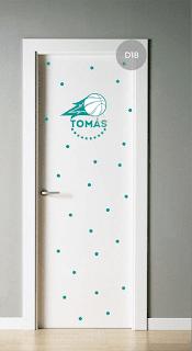 vinilo infantil puerta dormitorio varon futbol deportes basquet circo dinosaurios avion