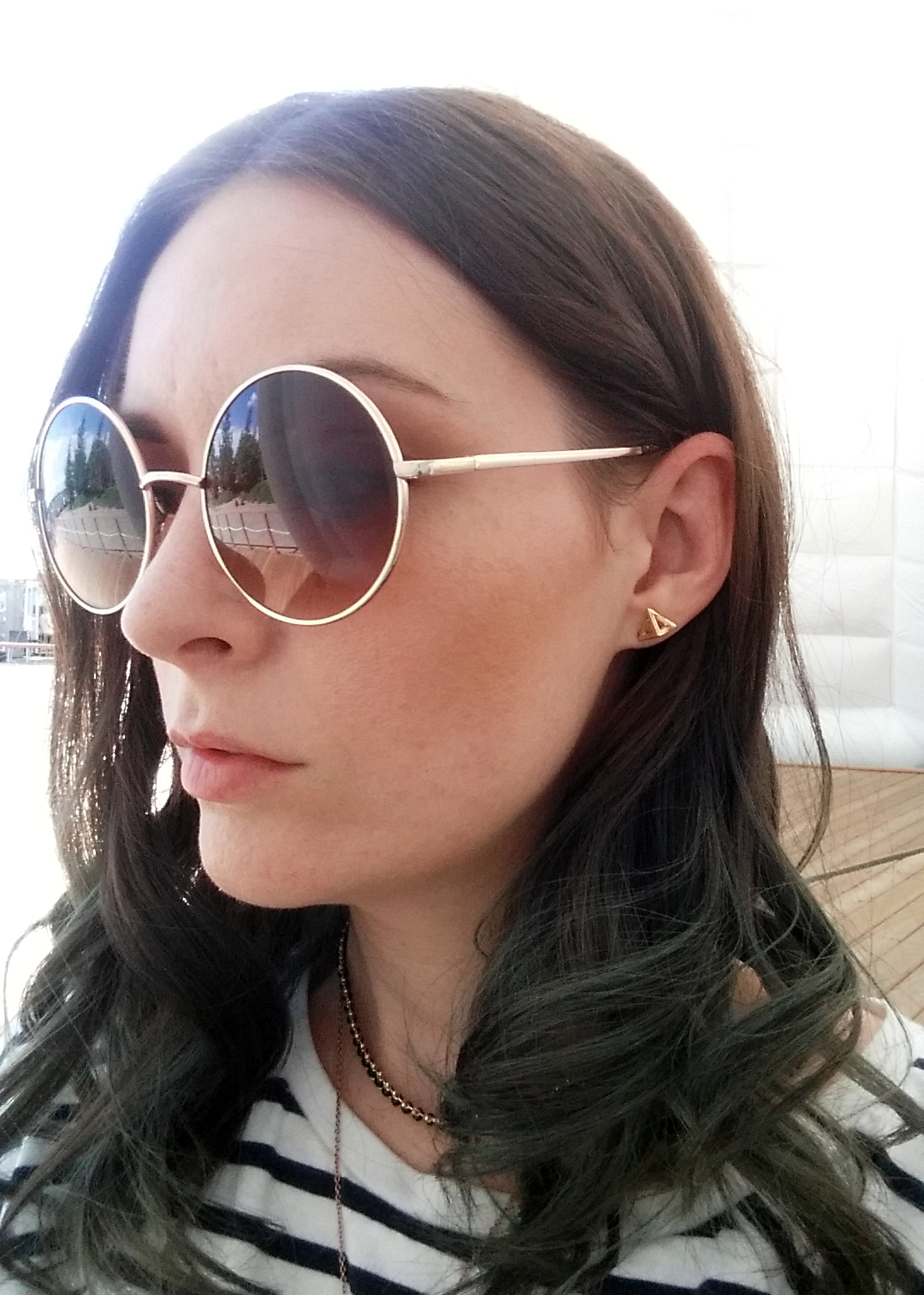 TopShop round sunglasses, pyramid earings