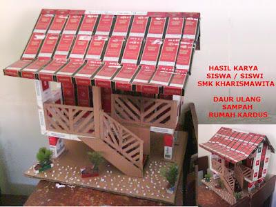 miniatur rumah dari bungkus rokok
