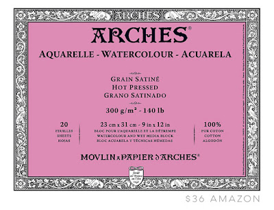 Arches watercolor paper block from Amazon