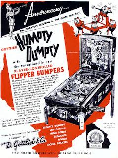 Cartel publicitario a 2 tintas (rojo y negro) del pinball de 6 flippers Humpty Dumpty de 1947