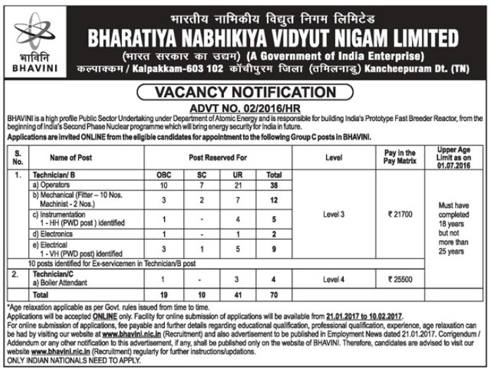 BHAVINI Recruitment for 70 Technician Posts