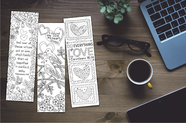 coloring bookmarks with love bible verses