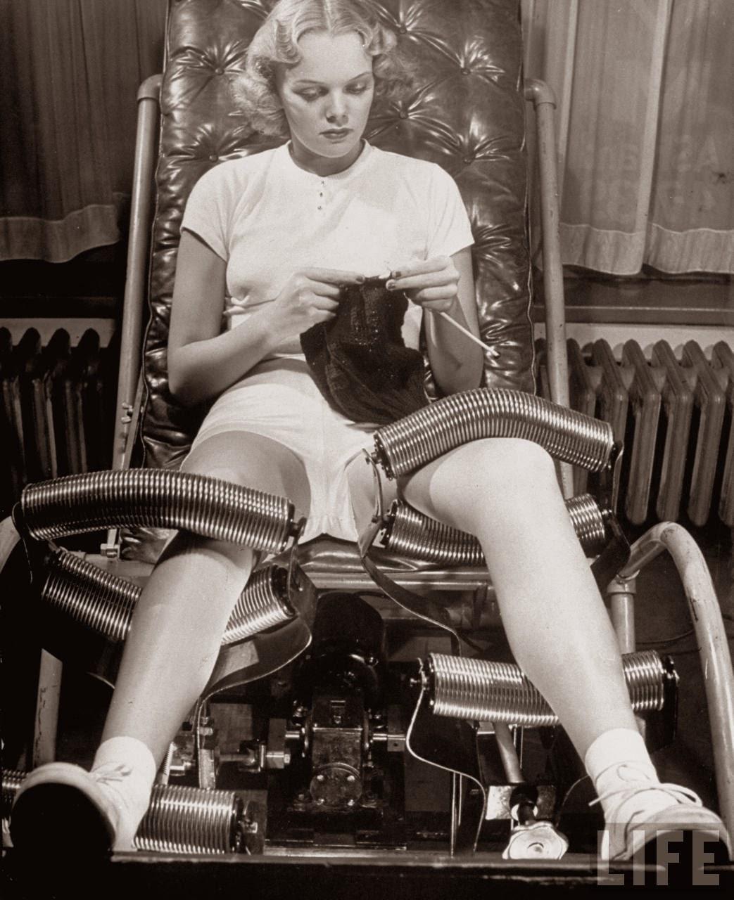 Model Pat Ogden at slenderizing salon NY 1940  vintage