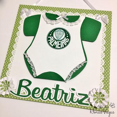 enfeite de porta de maternidade quarto quartinho do bebê time de futebol palmeiras palmeirense menina verde e branco