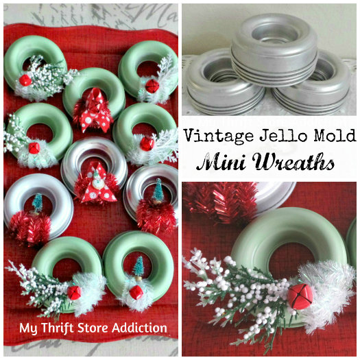 Friday's Find: Thrifty Transformations mythriftstoreaddiction.blogspot.com  Mini wreaths repurposed from vintage jello molds