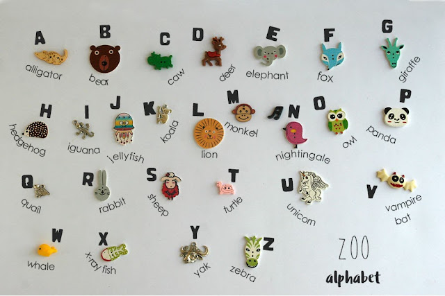 Zoo themed Language objects for ABC Alphabet I spy bag bottle by TomToy