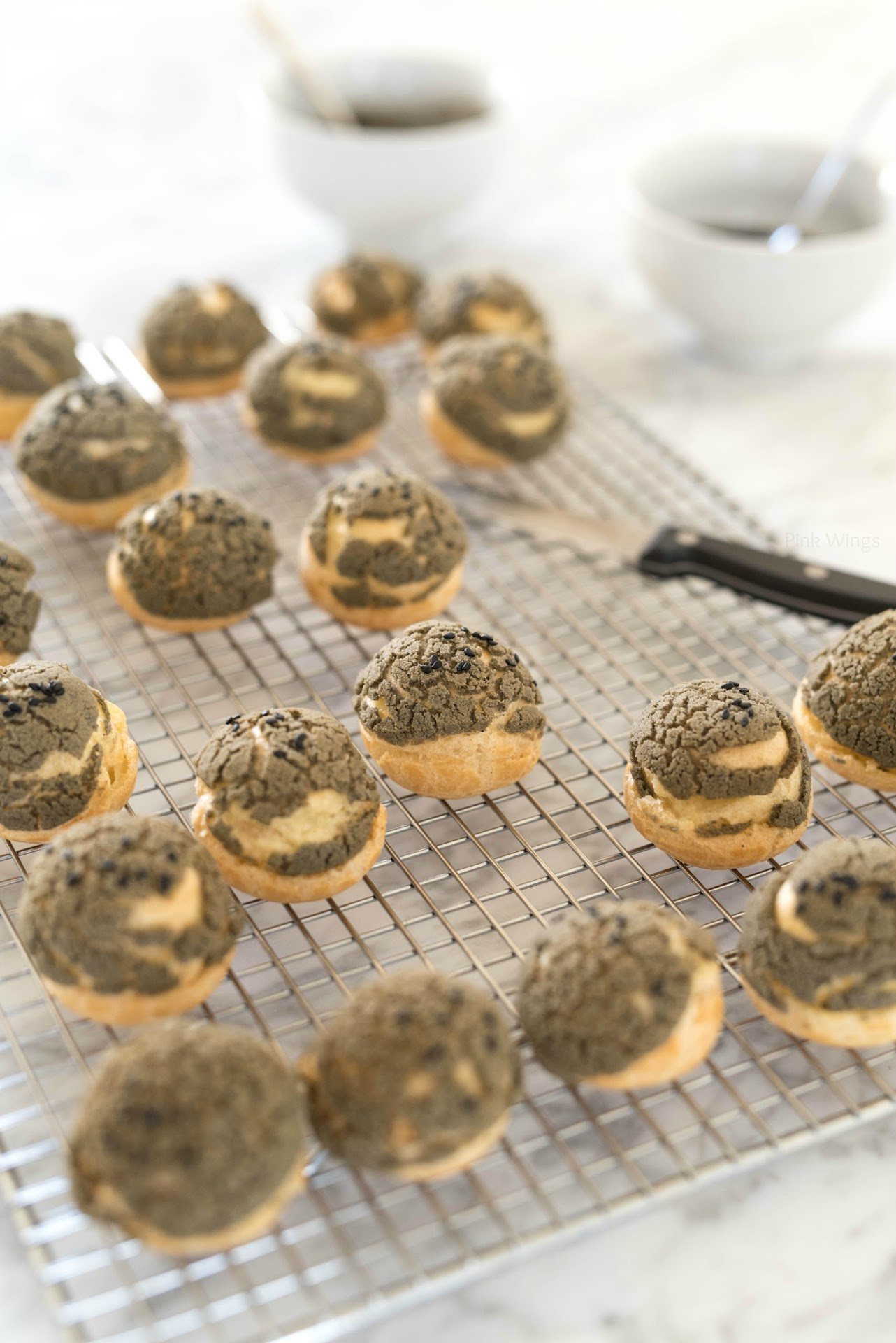 black sesame dessert recipe, asian dessert blogger, asian food, chinese new year desserts, lunar new year food, party ideas, black cream puffs