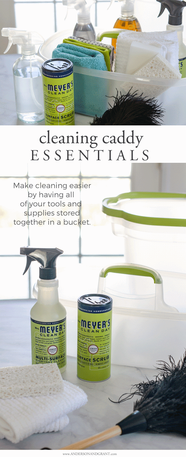 Keeping a caddy well stocked with your cleaners, rags, and tools will help make weekly home maintenance quick, easy, and painless.  Find out what essentials you should include.  |  www.andersonandgrant.com