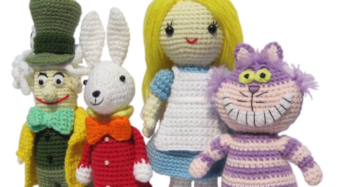 alice le lapin blanc le chat du cheshire et le chapelier amigurumi en fran ais de k and j dolls. Black Bedroom Furniture Sets. Home Design Ideas