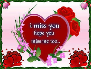 i miss you hope you miss me too with heart & red rose