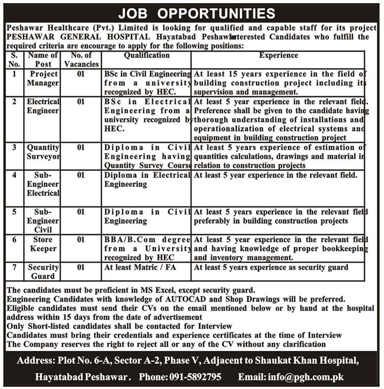 Peshawar General Hospital Hayatabad Jobs 2019