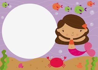 Para hacer invitaciones, tarjetas, marcos de fotos o etiquetas, para imprimir gratis de Sirenas Bebés.
