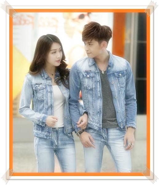 contoh jaket jeans wanita biru muda untuk pasangan couple