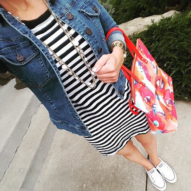 Banana Republic Factory Striped Dress (similar - only $13!) // Kut from the Kloth Denim Jacket (similar on sale for $30) // Converse Shoreline Ox Sneakers // Trina Turk Tote Handbag (similar - 48% off!)