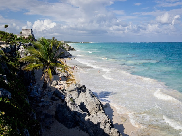view of Tulum Beach from above