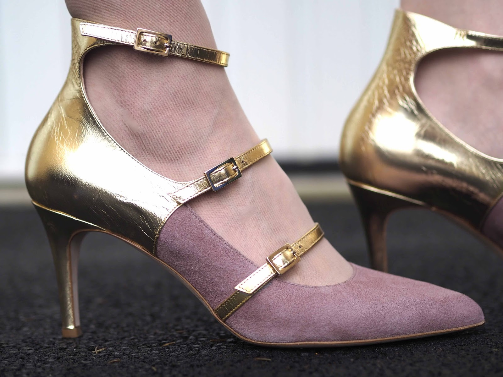 Roccamore blush suede and gold leather strappy high-heeled shoes