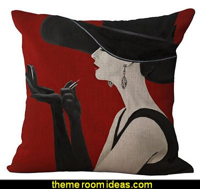 Black and Beige  Fashion Makeup  Lady  throw pillow