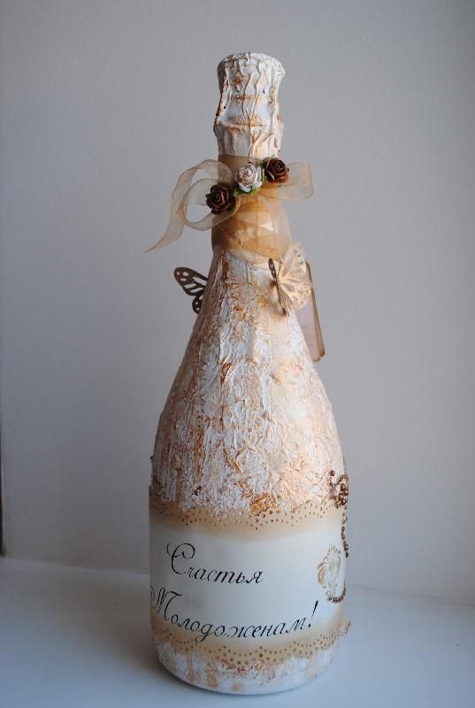Декупаж шампанского на Новый год мастер-класс