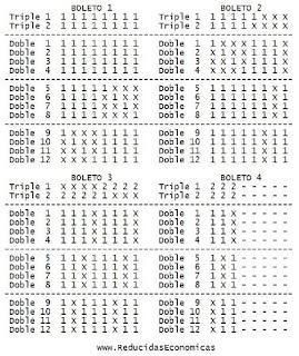 1X2 - Combinación de Quiniela Reducida y Condicionada de 2 Triples y 12 Dobles al 13