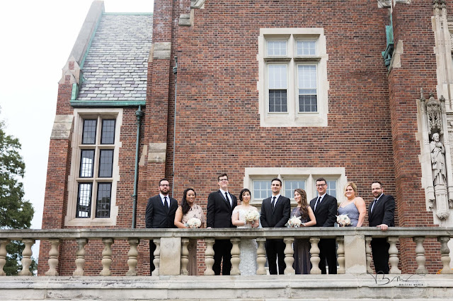 Bridal party on balcony at Grosse Point Academy