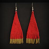 купить длинные темно красные серьги из бисера интернет магазин россия