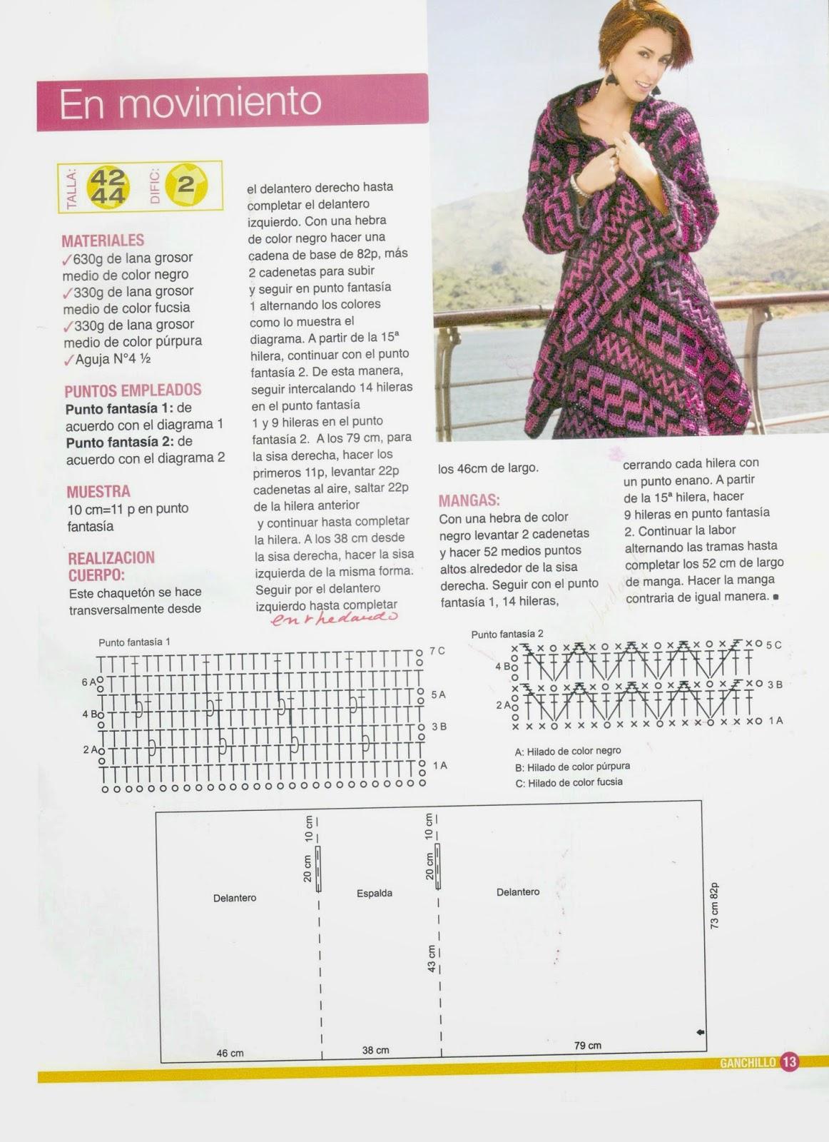 Saco chaqueton etnico crochet rectangular